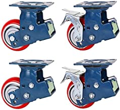 Zwaar uitgevoerde zwenkwielen, 5/6 / 8in dubbele veer dubbelgelagerde schokabsorberende zwenkwielen, rode hoogelastische P...