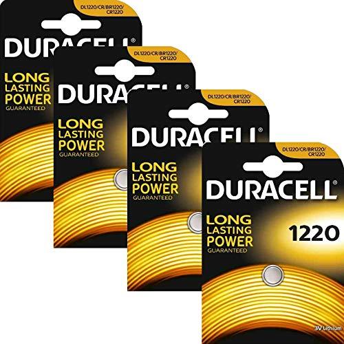 Duracell CR1220, pile a bottone, al litio, 3V, 4 pezzi, blister