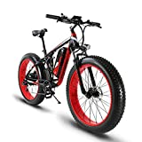 Extrbici XF800 1000W 48V13AH Electric Mountain Bike Full Suspension (Negro Rojo)