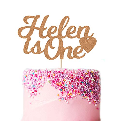 EDSG Personalised Any Age First Birthday Cake Topper. Personalised Baby Birthday Cake Topper. 1st Birthday Cake Decoration for Baby Boy & Girl. Any Name and Age Customized. Double Sided Glitter Card.