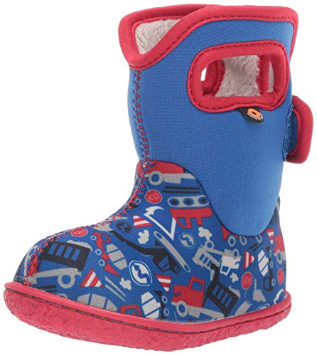 BOGS Baby Waterproof Insulated Snow Boot, Construction - Blue Multi, 7