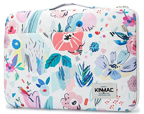 Kinmac Flower Pattern 360° Protective Waterproof Laptop Case Bag Sleeve with Handle (15.6 inch)