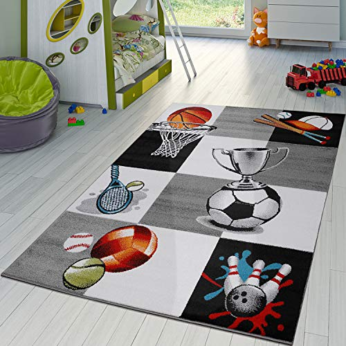 TT Home Alfombra Infantil Copa Baloncesto Fútbol Tenis Cuadros Gris Crema, Größe:120x170 cm