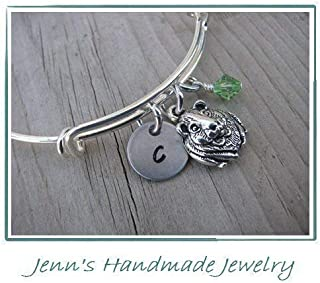 Hand-Stamped Bangle Bracelet Guinea Pig Charm with your choice of initial and bead