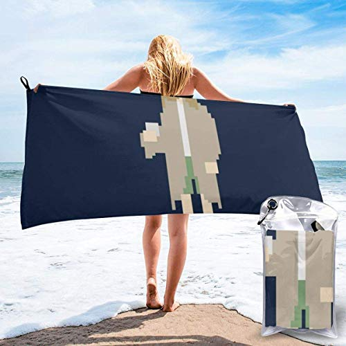 SFWER Big Lebowski 8Bit Dude Microfiber Large Beach Towel, Convenient and Foldable, Equipped with Carabiner for Easy Storage, Soft Bath Towel, Quick-Drying Shower Towel