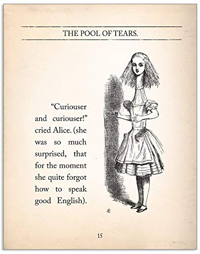 Amazon Com Curiouser And Curiouser Alice In Wonderland Quote Vintage Book Page Literary Print Fine Art Paper Laminated Or Framed Multiple Sizes Available Handmade