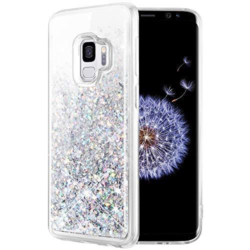 Caka Galaxy S9 Case, Galaxy S9 Glitter Case Liquid Series Luxury Fashion Bling Flowing Liquid Floating Sparkle Glitter Soft TPU Case for Samsung Galaxy S9 (Silver)