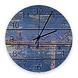 Reloj silencioso de 10 pulgadas para decoración de paredes, relojes de madera vintage que no hacen tictac, fáciles de leer para oficina / cocina / dormitorio / sala de estar / aula, puente de madera c