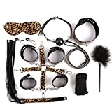JHHJKA Leopard Print Leather Adjustable Sexy Handcuffs and Blindfold Set Men Women Role Play Yoga Practice - 8PCS Leather Kit for Couple Adult Sex-Y Suit