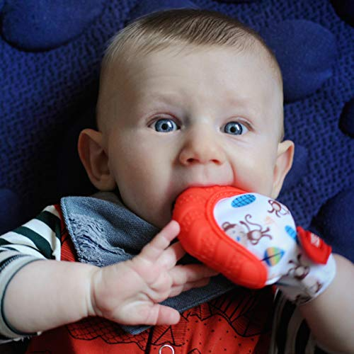 Nuby Soothing Teething Mitten with Hygienic Travel Bag, Red Monkey, 1 Count