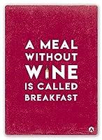 ワインなしの食事 金属板ブリキ看板警告サイン注意サイン表示パネル情報サイン金属安全サイン