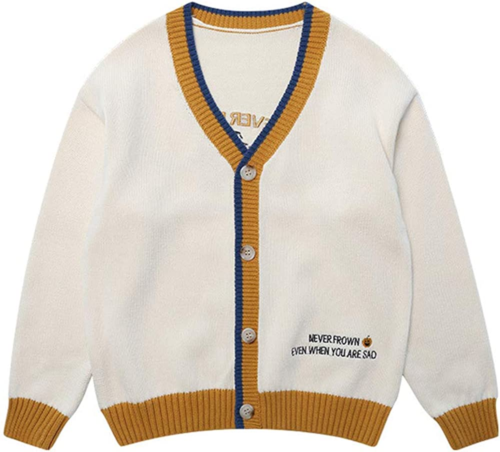 Knit Cardigan Sweater for 3 to 14 Years Old Boys Button-up V Neck Knitwear Children School Uniform Tops Clothing