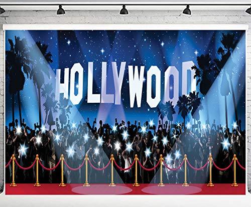 PHMOJEN 10x7ft Hollywood Red Carpet Backdrop Award Ceremony Photo Studio Background Celebration Party Photography YouTube Twitter Backdrop Props GEPH011
