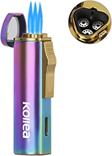 Kollea Cigar Lighter, Triple Jet Butane Torch Lighter Refillable, High Quality Jet Lighters with Punch & Stylish Design & Gift Box, Great Gift Ideas for Men(Butane Gas not Included)