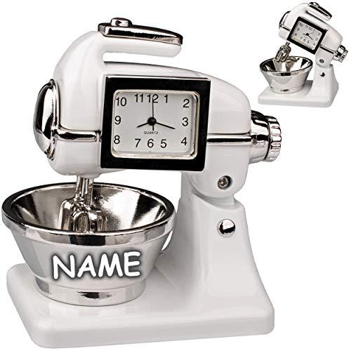 alles-meine.de GmbH kleine - Tischuhr / Miniatur - Uhr - Küchenmaschine - Knetmaschine - inkl. Name - aus Metall - 8 cm - batteriebetrieben - Analog - Batterie - weiß - Zahlen St..