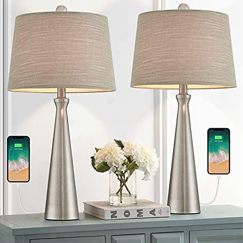 Oneach Juego de 2 lámparas de mesa USB modernas para sala de estar, dormitorio, mesita de noche, lámpara de mesa, pantalla de tela,...