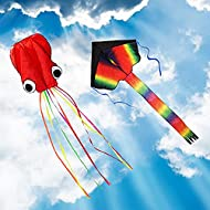 ZoomSky 2 Pack Kites - Large Rainbow Delta Kite and Red Mollusc Octopus with Long Colorful Tail for ...