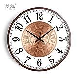 GRENSS Reloj de pared creativo americano de madera sala de estar relojes de pared decoración del hogar silencioso dormitorio arte reloj hogar Duvar Saati regalo FZ714, B, 10' (25,4 cm)