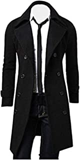 MODOQO Mens Trench Coat Double Breasted Overcoat Winter Warm Outwear Jacket
