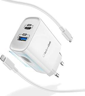 GlobaLink 20W Cargador Rapido iPhone USB C+MFi Cable USB C a Lightning 2M,Cargador Movil Universal con 2 Puertos(USB A y C...