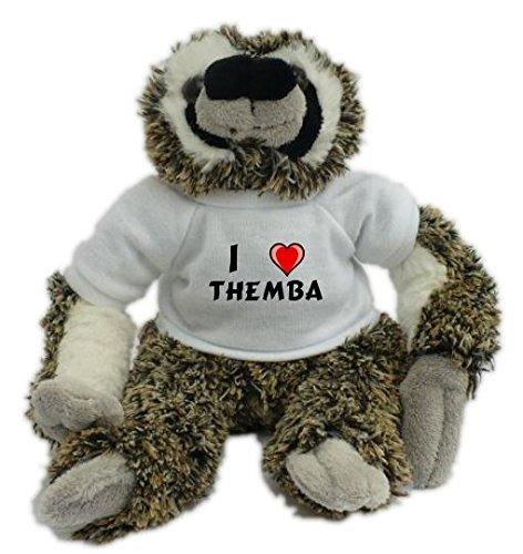 Plüsches Faultier mit T-shirt mit Aufschrift Ich liebe Themba (Vorname/Zuname/Spitzname)