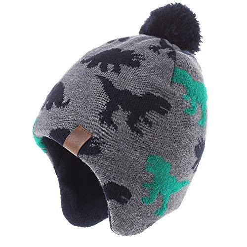 Monimo Jungen wintermütze Stricken Hut Verdicken Ohrenschützer Hut für Kinder,Grün,1-3 Jahre