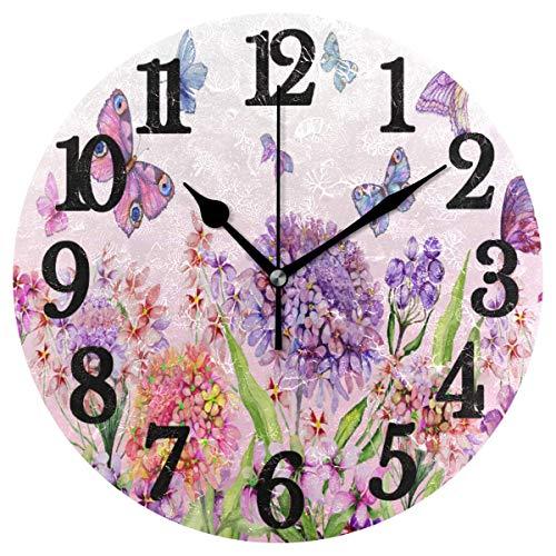 Night Ing Verano Hermosas Flores Coloridas Mariposas Reloj de Pared Redondo Reloj de Escritorio Decorativo para hogar Oficina Escuela