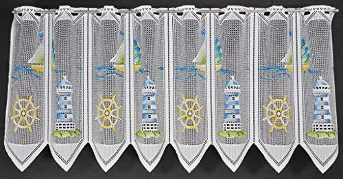 Rideaux brise-bise phare 45 cm de haut | Vous pouvez choisir la largeur des rideaux par paliers de 28,5 cm | Colour: Bleu, Vert, Jaune | Rideaux cuisine