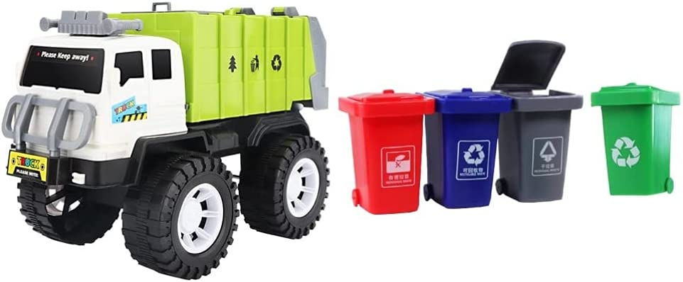 Toyvian 1 Set Garbage Truck Super beauty product restock quality top! Very popular Toy Waste with 4pcs Cans Man