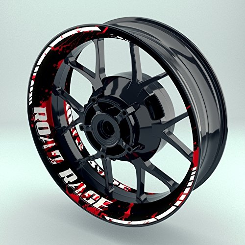 OneWheel Felgenrandaufkleber Motorrad 4er Komplett-Set (17 Zoll) - Felgenaufkleber Road Rage schwarz-weiß-rot (Design 2 - glänzend)