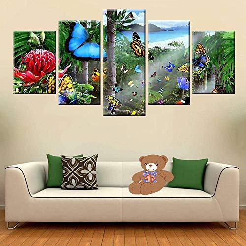lcyfg 5 Hochauflösend Gedruckte Fotoplakate Schmetterling Wandkunst Wohnkultur Wohnzimmer Oder Raummalerei(Rahmen)