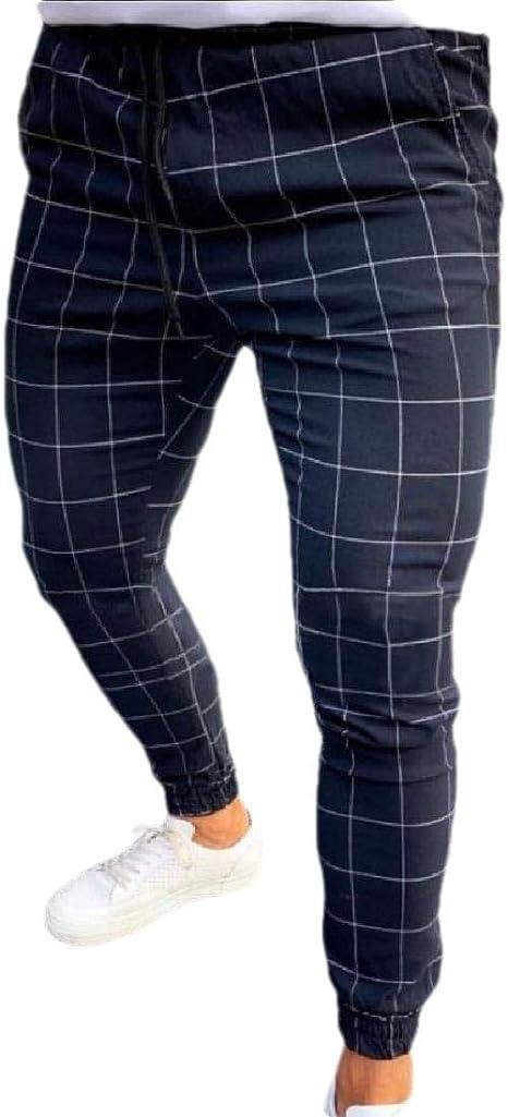 Heymoney Pantalones De Cintura Elasticos Con Estampado A Cuadros Con Cordon Clasico Para Hombre Amazon Com Mx Ropa Zapatos Y Accesorios