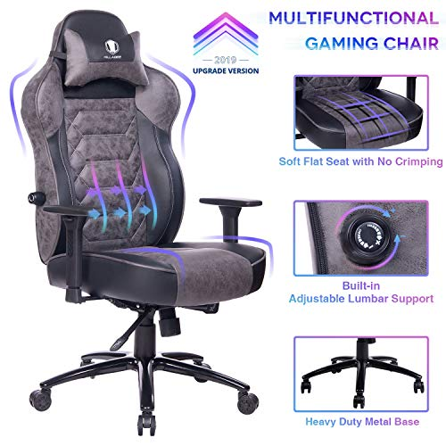 KILLABEE Gaming Chair Racing Office Chair - Adjustable Built-in Lumbar Support and Back Angle Ergonomic High-Back Leather Computer Desk Executive Swivel Chair with Wide Flat Seat and Metal Base (Gray) chair gaming gray