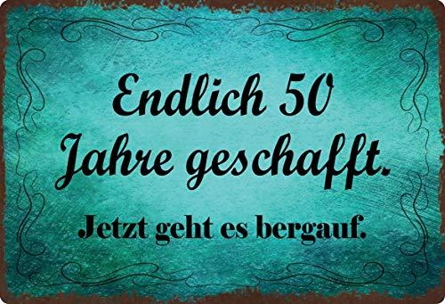 Cartel de chapa, 20 x 30 cm, arqueado, 50 años, con frases decorativas, regalo