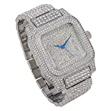 Bling-ed Out Biggie Square Silver Hip Hop Watch You Will Hypnotize in a Flashy Way 0513Sq Silver