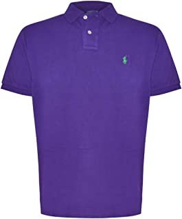 Ralph Lauren Mens Custom Fit Mesh Pony Logo Polo Shirt (Large, Royal Purple)