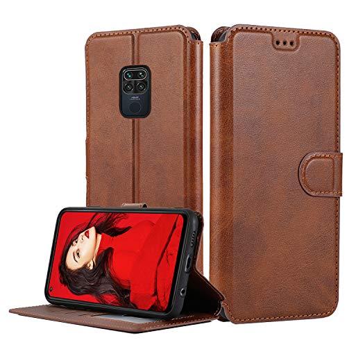 LeYi Hülle für Xiaomi Redmi Note 9 / Redmi 10X 4G Mit HD Folie Schutzfolie,Leder Handyhülle Stoßfest Wallet Magnet Schutzhülle Tasche Slim Silikon Bumper TPU Hülle für Handy Redmi Note 9 Matt Braun