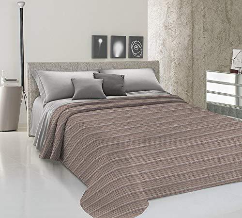 Homelife Tagesdecke für französisches Bett, Frühling, Sommer, Piqué, 220 x 280 cm, hergestellt in Italien, leichte Decke, Muster Linie Zig Zag | leichte Tagesdecke | 1,5 P, Beige