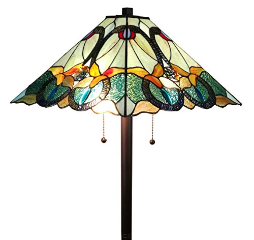 "Amora Lighting AM255FL17 63"" High Tiffany Style Mission Floor Lamp, Green/Yellow"