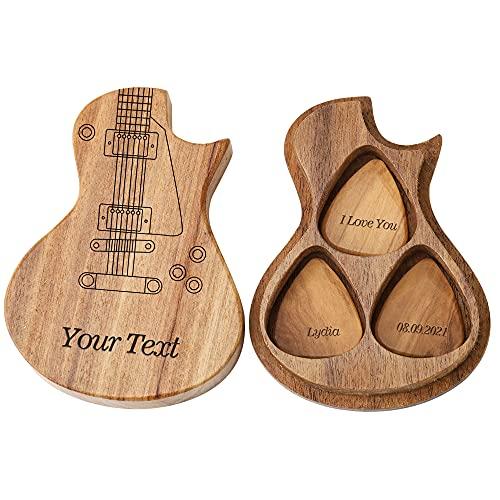 Médiators de guitare en bois personnalisés personnalisés et étui de sélection créatif personnalisé cadeau de...
