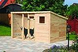 Pferdesport Hundezwinger Bruno XL mit Boden Natur Massivholz 438x226x192cm Hundehaus Zwinger Haus Hundehütte Hütte Outdoor groß riesig viel Platz