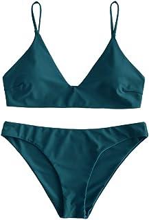 ZAFUL Women's Solid Spaghetti Strap Bralette Bikini Set Two Piece Swimsuit