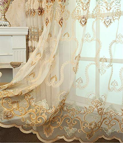 WPKIRA Exquisite European Embroidered Floral Sheer Curtains Rod Pocket Transparent Voile Window Treatment Drapes for Living Room/Hall/Villa Room Decoration Tulle Curtain 1 Panel W40 x L84 inch