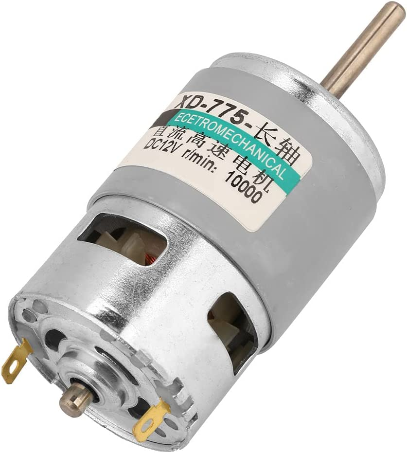 Snufeve6 Motor de Corriente Continua, Mini Motor de Alta Velocidad de 80W 12V-24V, Motor de CC de Eje de Extensión de par Profesional para Automatización de Oficinas, Hogar, 10000 RPM-20000 RPM(12V)