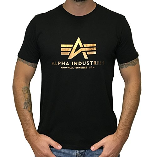 Alpha Industries T-Shirt Basic (M, Black/Gold)