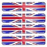 Biomar Labs® 4 x 3D Silicone Adesivi Resinati Bandiera Nazionale del Regno Unito UK Union Jack per Auto Moto Finestrìno Scooter Bici Motociclo Tuning F 26
