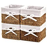EZOWare Set of 4 Natural Woven Seagrass Wicker Storage Nest Baskets Shelf Organizer Container Bins with Liner - Brown