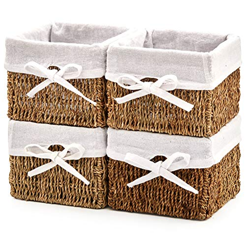 EZOWare Set of 4 Decorative Seagrass Basket Storage Cube Container Box with Removable Liners for Kitchen, Bathroom Bedroom - 18 x 18 x 14 cm
