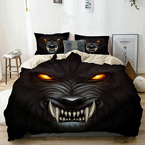 Yoyon Beige Duvet Cover,Angry Werewolf face in Darkness Digital Painting,3 Pieces Quality Printed Microfiber Bedding Set,Modern Design with Softness Comfortable
