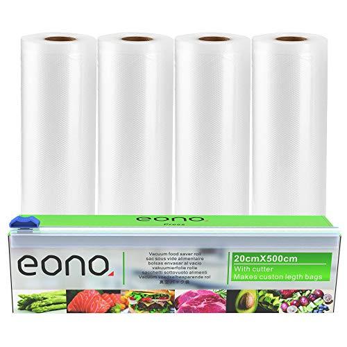 Eono by Amazon-Bolsas de Vacío Alimentos: 4 Rolls 20x500cm con Caja de Corte para Conservación de Alimentos y Sous Vide Cocina, BPA Free